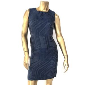FENDI 100% SILK TEXTURED BLUE SHEATH DRESS 38/0/XS
